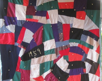 Stunning 1950's Crazy Strip Antique Vintage Quilt - Excellent