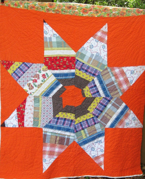 Reserved  for Tonya - Folk Art Primitive Big Star Antique Vintage Quilt - Spectactular