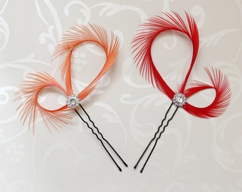 Red Hair Accessories, Red Hair Pins, Bridal Fascinators, Bridesmaid Gift, Bridal Party Red, Christmas Gift, Orange Hair Pin