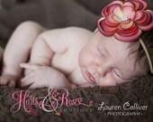 Coral Baby Headband.Newborn Headband.Baby Headbands.Baby Girl Hairbow.Baby Girl Headband.Newborn Headband.Infant Headband.Flower Headband.