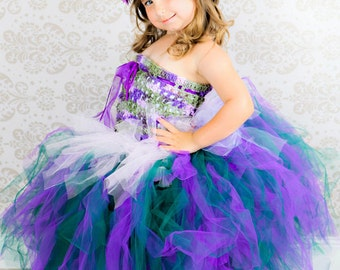Purple and Green English Fairy Princess Tulle Tutu Gown Ensemble with Hand Crochet Top for Parties, Costume, Pageants