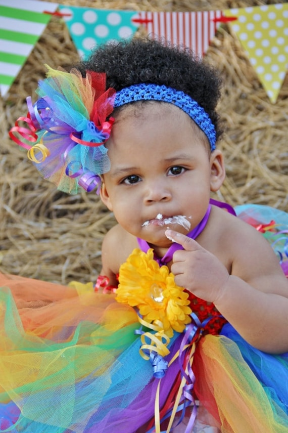 Rainbow Tutu Dress with Over the Top Headband for Birthdays, Parties, Costume, Celebrations
