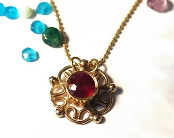 14k solid gold necklace, 14k yellow gold necklace, Ruby gold necklace, genuine Ruby necklace, gold flower necklace