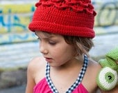 Funny Strawberry Hat Handmade Hand Knit Crochet Spring Summer Autumn Accessories Red Green designed by dodofit on Etsy