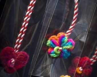 Set of 7 Martenitza Flower Bracelet Crochet Red White Spring Blossom Heart Wood Beads Handmade by dodofit on Etsy