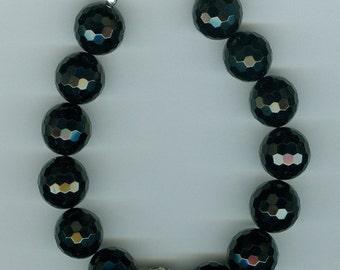 Sterling Silver Faceted Onyx Bracelet