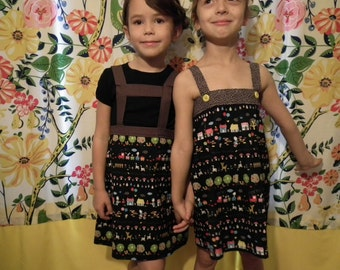 sweet little homesewn dress for late summer or layered for fall sz. 4-6