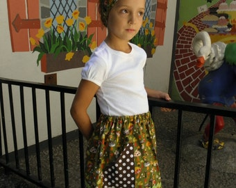 Homemade mushroom skirt and headband for back to school, girls size 5, 6, 8, 10. Or can be made to order