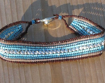 7 Inch Bead-Woven Brown & Blue Bracelet - Flat Seed Bead Bracelet - Casual Comfortable Woven Jewelry - Narrow Cuff Style