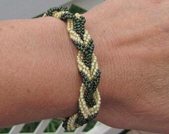 Green & Yellow Braided Bracelet - 7 Inch Seed Bead Bracelet - Matte Green Woven Bracelet