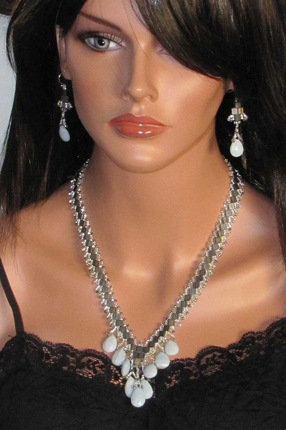 Chalcedony Necklace and Earring Set - 10% Discount Available