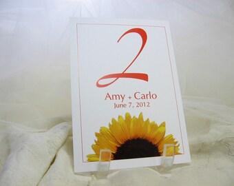Wedding Reception Table Number Card Beach Wedding Sunflower Traditional Black White Wedding Optional Design