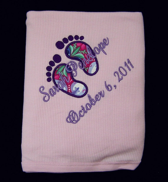Personalized Baby Feet Thermal Blanket Fabric Appliqued