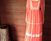 70's Coral Gauze Peasant Dress - Crochet // VTG Bohemian MAXI