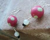 Polka Dot Earrings, Sale, Polymer Clay, Jade, Sterling Silver