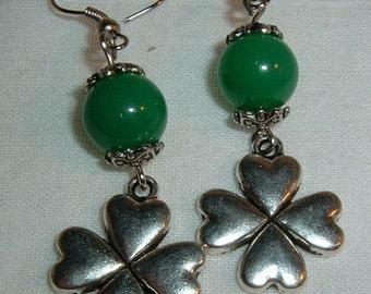 Shamrock Earrings, silver