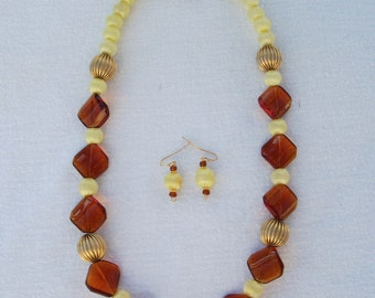 Vintage yellow satin/silk beaded necklace with brown and gold beads