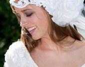 Wedding dress perfect headband sash tiara headpeice white pearls seven in flower