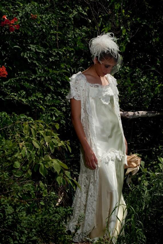 1930s wedding Vintage Lace Wedding dress coat with satin  backless gown vintage inspired original design
