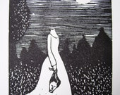 Lino print 'Midnight'- the poor decapitated ghost