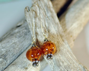 Handmade Blown Amber Glass Boule, Pyrite and Sterling Silver Earrings