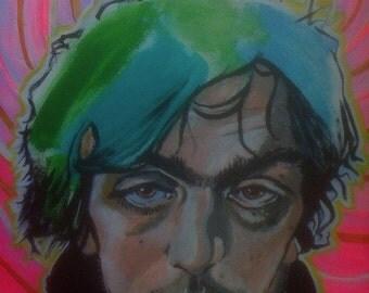 "Syd Barrett Pink Floyd Robert E. Richards Original Art Acrylic Painting on canvas 20"" X 16"""