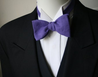 bowtie, mens, pure linen - purple colour, freestyle, self tie, for men / adjustable bow tie : perfect for your summer wedding / groomsmen.
