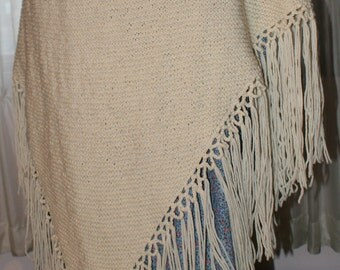 Victorian or Present 100% Wool Knitted Shawl for Reenactments or Just Because