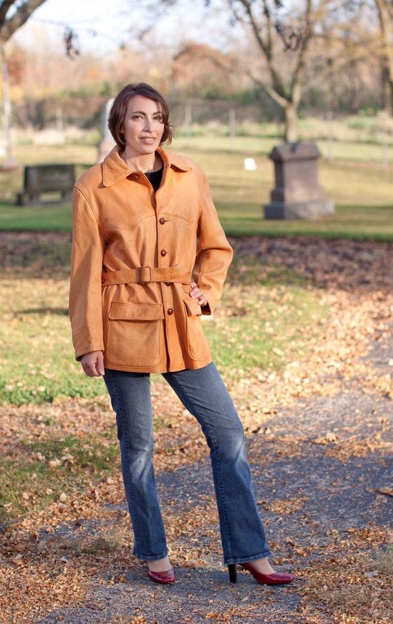 Vintage Buckskin Coat, 1970s Buckskin Coat with Belt, Milfur Coat