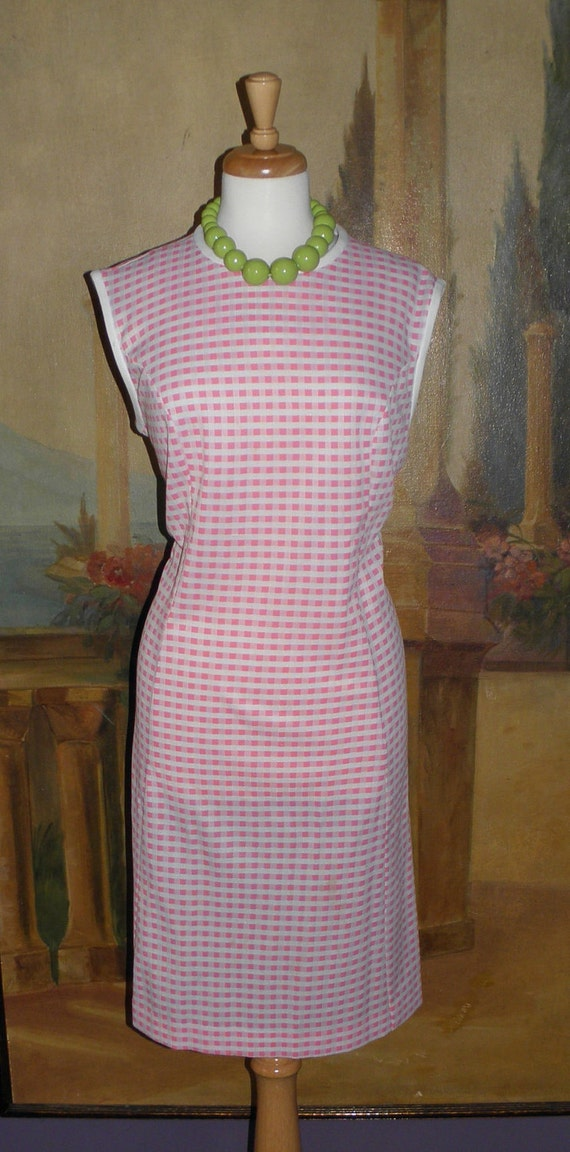 Vintage Pink and White Check Shift Dress, Gingham Romper Dress, Large Vintage Dress