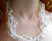 Bridal necklace, Wedding necklace, Wedding accessories, Pearl necklace, multi strand, crystals, white, twisted, freeform: Pearls and Crystal
