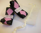 Set of 2 Black, Pink, and White Glittery, Argyle Tuxedo Bow Clippies