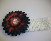 NCAA 2011 National Champions - Alabama Crimson & Black Gerber Daisy Bling Clip w/ Matching White Crocheted Headband
