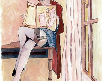 Maxine Gouache Painting Reproduction Print of French Girl REading Magazine