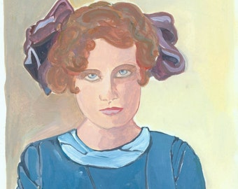 Sarah Gouache Painting from Vintage Photo School Girl Hairbow Blue