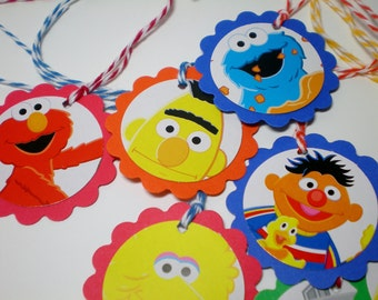 Sesame Street Tags for favor bags games birthday parties (8) MEDIUM