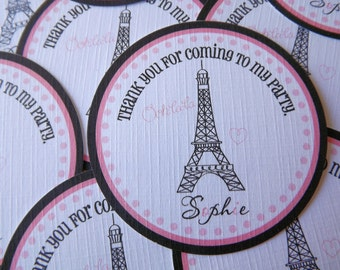 Set of 12 Personalized Favor Tags -Ooh La La-Paris-Eiffel Tower-Pink-French-France-Thank You Tag -Gift Tag -Baby Shower -Birthday-Sticker