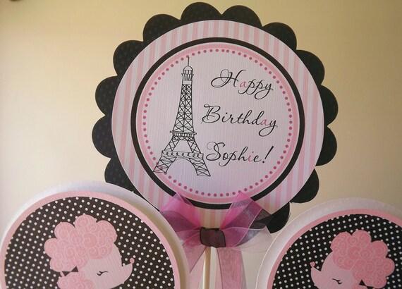 Ooh La La Collection: 3 Piece Centerpiece -Birthday -Baby Shower -Table Decoration -Candy Dessert Table -Paris -Eiffel Tower -Poodles