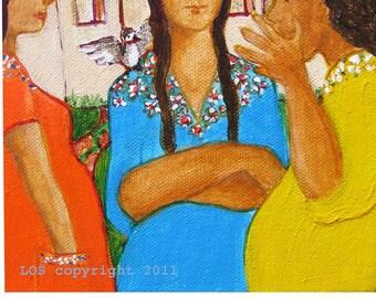Folk Art mexican acrylic mini painting OOAK - Las chismosas