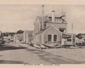 On North Wharf, Nantucket post card. Gardiner, black & white.