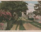 Broadway in Rose Time, Sconset, Nantucket postcard. Gardiner Nantuckrome