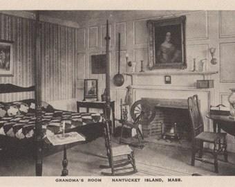 Grandma's Room, Nantucket post card. Gardiner, black & white.