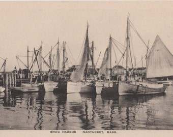 Snug Harbor, Nantucket post card. Gardiner, black & white.