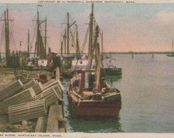 Wharf Scene, Nantucket postcard. Gardiner Nantuckrome
