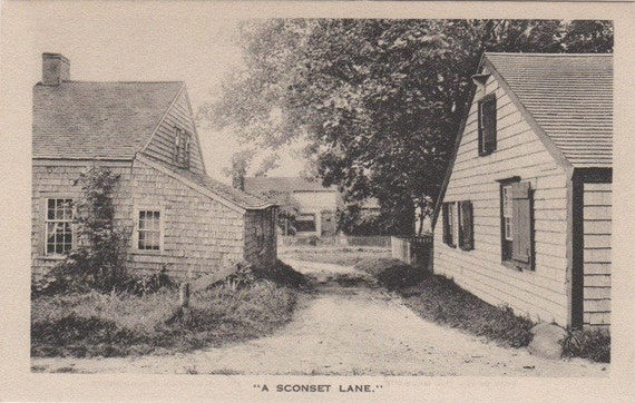 A Sconset Lane, Siasconset, Nantucket. Gardiner black & white post card.
