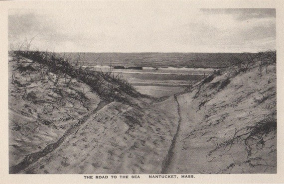 The Road to the Sea, Nantucket post card. Gardiner black & white