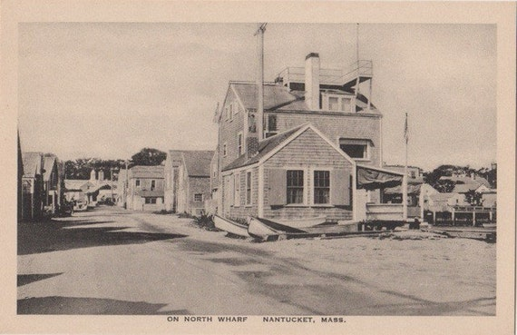 On North Wharf, Nantucket post card. Gardiner, black & white.