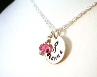 Breast Cancer Awareness Personalized Hand Stamped Necklace