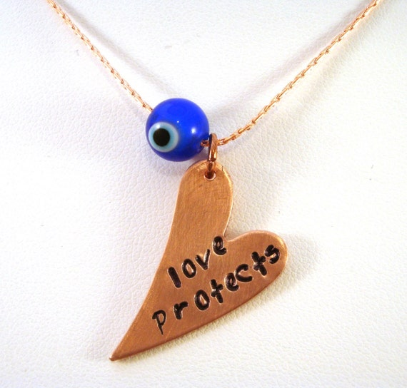 Love Protects Evil Eye Necklace