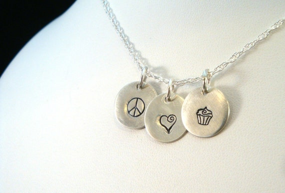 Peace Love Cupcakes Necklace - Fun Cupcakes Necklace - Sterling Silver Necklace - Hand Stamped Jewelry